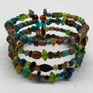 Stacked Beaded Cuff Bracelet Amber Green Teal